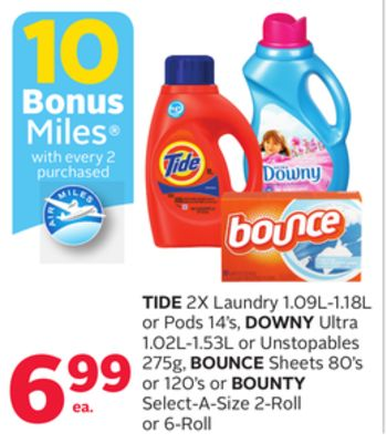 Tide 2x Laundry 1.09l-1.18l Or Pods 14's - Downy Ultra 1.02l-1.53l Or Unstopables 275g - Bounce Sheets 80's Or 120's Or Bounty Select-a-size 2-roll Or 6-roll - 10 Bonus Air Miles Reward Miles