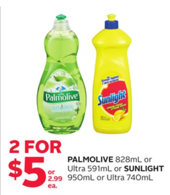 Palmolive 828ml Or Ultra 591ml Or Sunlight 950ml Or Ultra 740ml