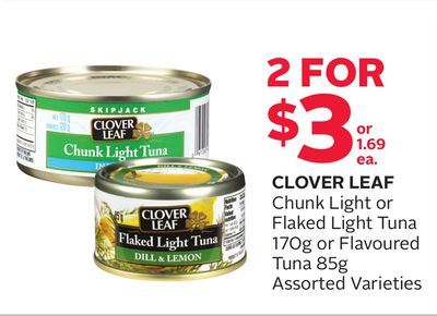 Clover Leaf Chunk Light or Flaked Light Tuna 170g or Flavoured Tuna 85g