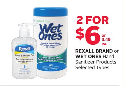 Rexall Brand or Wet Ones Hand Sanitizer Products
