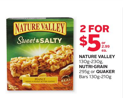 Nature Valley 130g-230g - Nutrigrain 295g Or Quaker Bars 130g-210g