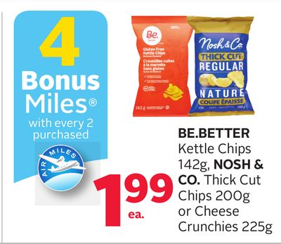 Be.better Kettle Chips 142g - Nosh & Co. Thick Cut Chips 200g Or Cheese Crunchies 225g - 4 Bonus Air Miles Reward Miles