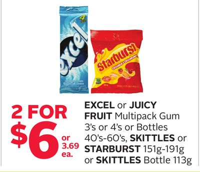 Excel or Juicy Fruit Multipack Gum 3's or 4's or Bottles 40's-60's - Skittles or Starburst 151g-191g or Skittles Bottle 113g