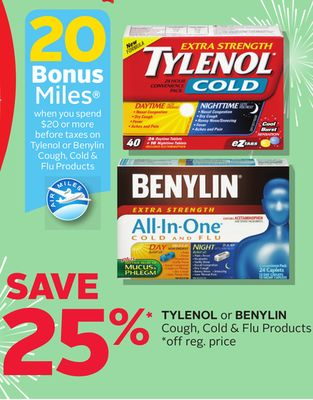 Tylenol Or Benylin Cough - Cold & Flu Products - 20 Bonus Air Miles Reward Miles