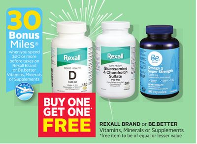 Rexall Brand Or Be.better Vitamins - Minerals Or Supplements - 30 Bonus Air Miles Reward Miles