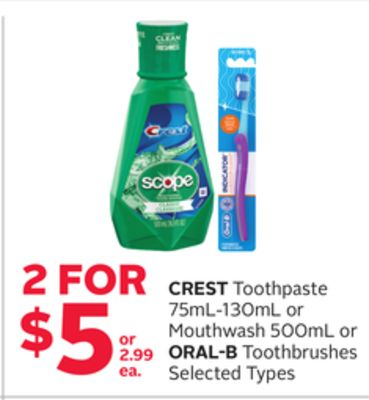 Crest Toothpaste 75ml-130ml Or Mouthwash 500ml Or Oral-B Toothbrushes