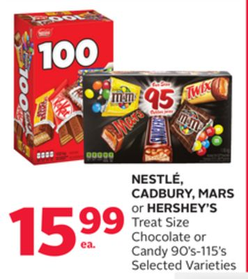 Nestlé - Cadbury - Mars Or Hershey's Treat Size Chocolate Or Candy 90's-115's