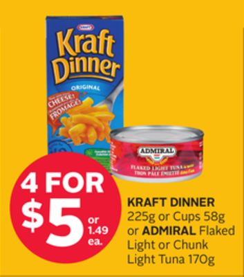 Kraft Dinner 225g or Cups 58g or Admiral Flaked Light or Chunk Light Tuna 170g