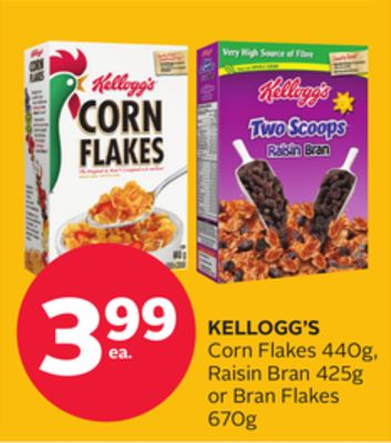 Kellogg's Corn Flakes 440g - Raisin Bran 425g Or Bran Flakes 670g