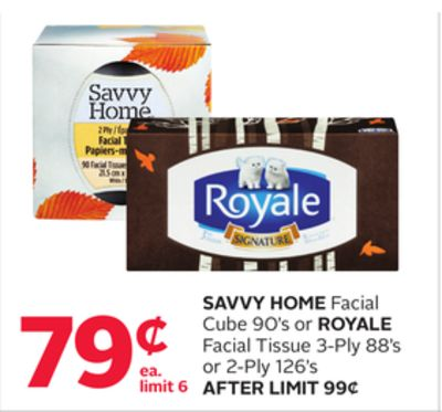 Savvy Home Facial Cube 90's Or Royale Facial Tissue 3-ply 88's Or 2-ply 126's