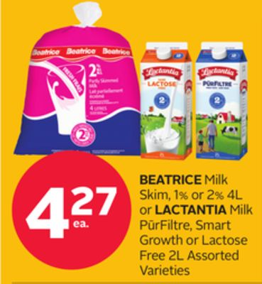 Beatrice Milk Skim - 1% Or 2% 4l Or Lactantia Milk P?rfiltre - Smart Growth Or Lactose Free 2l
