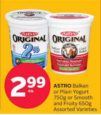 Astro Balkan Or Plain Yogurt 750g Or Smooth And Fruity 650g