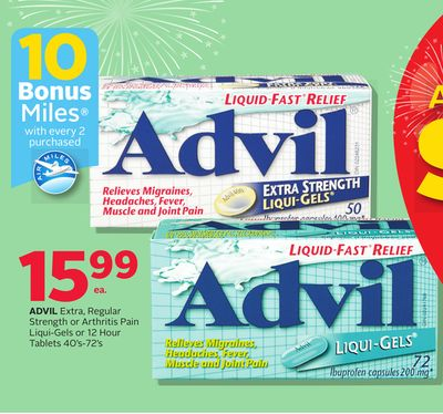 Advil Extra - Regular Strength Or Arthritis Pain Liqui-gels Or 12 Hour Tablets 40's-72's - 10 Bonus Air Miles Reward Miles