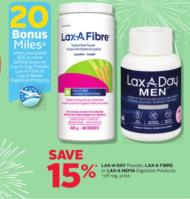 Lax-a-day Powder - Lax-a Fibre Or Lax-a Nema Digestive Products - 20 Bonus Air Miles Reward Miles