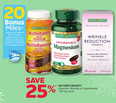 Nature's Bounty Vitamins - Minerals or Supplements - 20 Bonus Air Miles Reward Miles