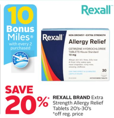 Rexall Brand Extra Strength Allergy Relief Tablets 20's-30's - 10 Bonus Air Miles Reward Miles