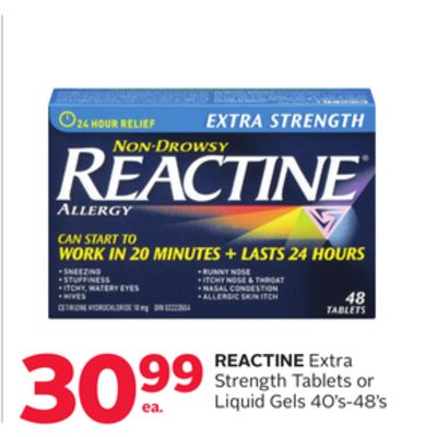 Reactine Extra Strength Tablets or Liquid Gels