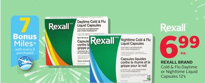 Rexall Brand Cold & Flu Daytime Or Nighttime Liquid Capsules 12's - 7 Bonus Air Miles Reward Miles