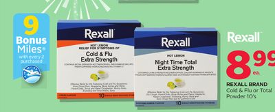 Rexall Brand Cold & Flu Or Total Powder 10's - 9 Bonus Air Miles Reward Miles