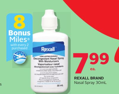 Rexall Brand Nasal Spray 30ml - 8 Bonus Air Miles Reward Miles