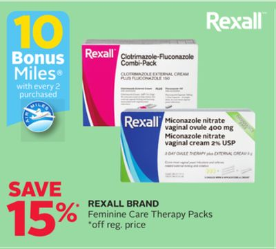 Rexall Brand Feminine Care Therapy Packs - 10 Bonus Air Miles Reward Miles