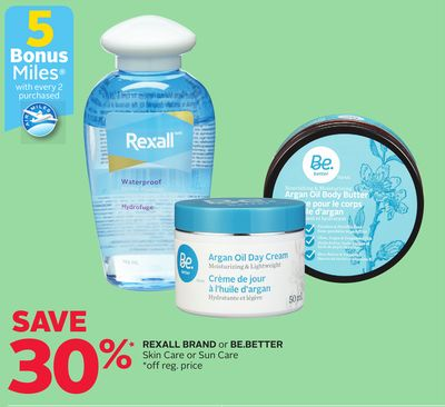 Rexall Brand or Be.better Skin Care or Sun Care - 5 Bonus Air Miles Reward Miles