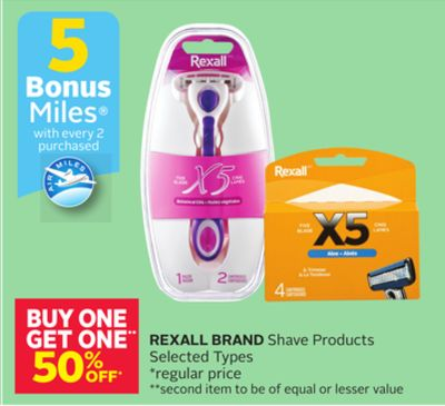 Rexall Brand Shave Products - 5 Bonus Air Miles Reward Miles