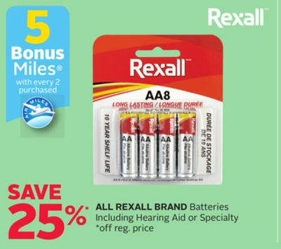 All Rexall Brand Batteries Including Hearing Aid or Specialty - 5 Bonus Air Miles Reward Miles