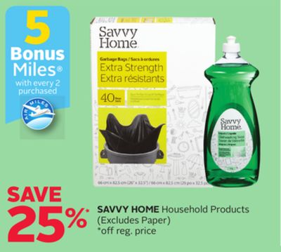 Savvy Home Household Products - 5 Bonus Air Miles Reward Miles