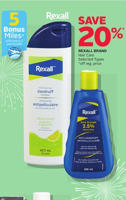 Rexall Brand Hair Care - 5 Bonus Air Miles Reward Miles