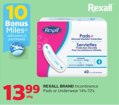 Rexall Brand Incontinence Pads Or Underwear - 10 Bonus Air Miles Reward Miles