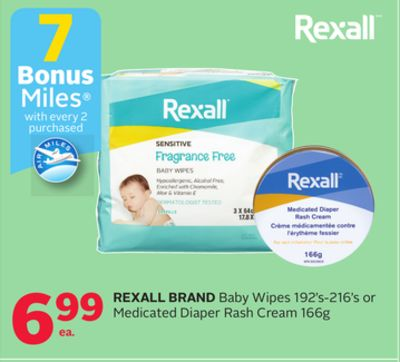 Rexall Brand Baby Wipes 192's-216's or Medicated Diaper Rash Cream 166g - 7 Bonus Air Miles Reward Miles