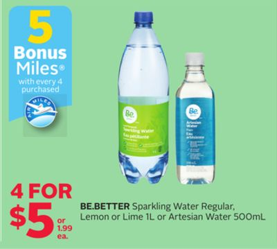 Be.better Sparkling Water Regular - Lemon Or Lime 1l Or Artesian Water 500ml - 5 Bonus Air Miles Reward Miles