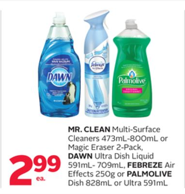 Mr. Clean Multi-surface Cleaners 473ml-800ml Or Magic Eraser 2-pack - Dawn Ultra Dish Liquid 591ml- 709ml - Febreze Air Effects 250g Or Palmolive Dish 828ml Or Ultra 591ml