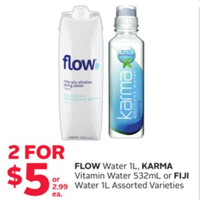 Flow Water 1l - Karma Vitamin Water 532ml Or Fiji Water 1l