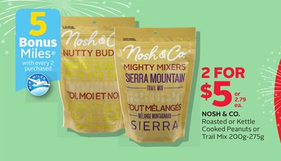 Nosh & Co. Roasted Or Kettle Cooked Peanuts Or Trail Mix 200g-275g - 5 Bonus Air Miles Reward Miles