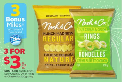 Nosh & Co. Potato Chips - Sour Cream & Onion Rings Or Cheese Stix 130g-140g - 3 Bonus Air Miles Reward Miles