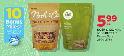 Nosh & Co. Nuts Or Be.better Deluxe Nuts 250g-275g - 10 Bonus Air Miles Reward Miles