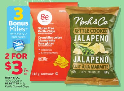 Nosh & Co. 180g-200g Or Be.better 142g Kettle Cooked Chips - 3 Bonus Air Miles Reward Miles