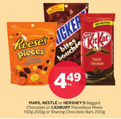 Mars - Nestlé Or Hershey's Bagged Chocolate Or Cadbury Marvellous Mixes 150g-200g Or Sharing Chocolate Bars 200g