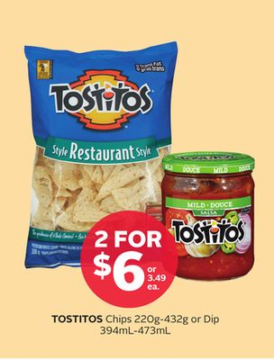 Tostitos Chips 220g-432g Or Dip 394ml-473ml