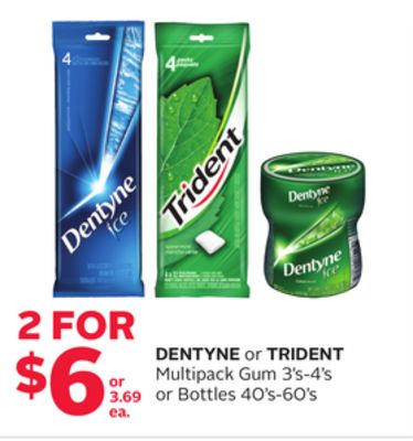 Dentyne Or Trident Multipack Gum 3's-4's Or Bottles 40's-60's