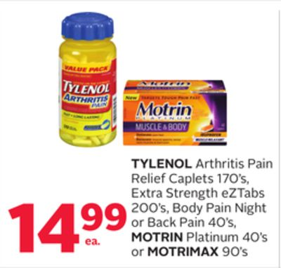 Tylenol Arthritis Pain Relief Caplets 170's - Extra Strength Eztabs 200's - Body Pain Night or Back Pain 40's - Motrin Platinum 40's or Motrimax 90's
