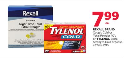 Rexall Brand Cough - Cold or Total Powder 10's or Tylenol Extra Strength Cold or Sinus Eztabs 20's