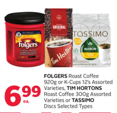 Folgers Roast Coffee 920g or K-cups 12's Assorted Varieties - Tim Hortons Roast Coffee 300g Assorted Varieties or Tassimo Discs