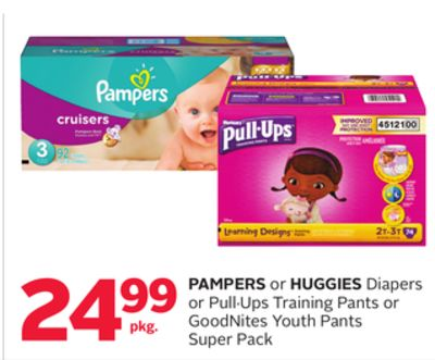 Pampers or Huggies Diapers or Pull·ups Training Pants or Goodnites Youth Pants Super Pack