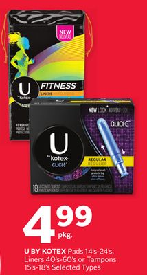 U By Kotex Pads 14's-24's - Liners 40's-60's or Tampons 15's-18's