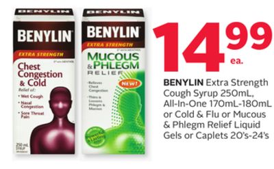 Benylin Extra Strength Cough Syrup 250ml - All-in-one 170ml-180ml or Cold & Flu or Mucous & Phlegm Relief Liquid Gels or Caplets 20's-24's