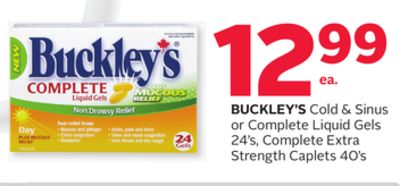 Buckley's Cold & Sinus or Complete Liquid Gels 24's - Complete Extra Strength Caplets 40's