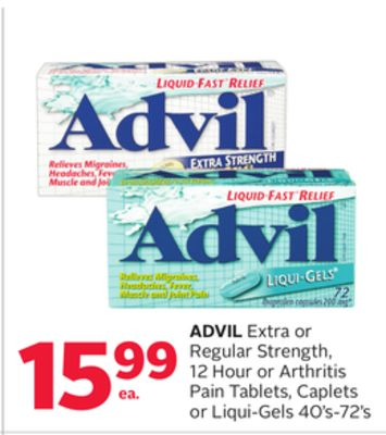 Advil Extra or Regular Strength - 12 Hour or Arthritis Pain Tablets - Caplets or Liqui-gels 40's-72's